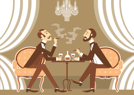 vintage cigar: Gentlemen talking and drinking in club.Vintage illustration of retro club Illustration