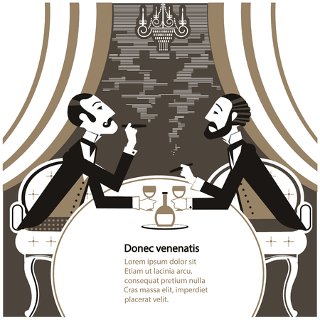 Gentlemen smoking cigares and sitting in tobacco smoke.Vector vintage gentlemans club illustration for text Vector