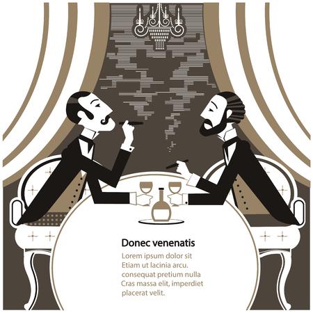 Panowie palenia cigares i siedzi w klubie ilustracji smoke.Vector tytoniu rocznika dżentelmena tekstu Ilustracje wektorowe