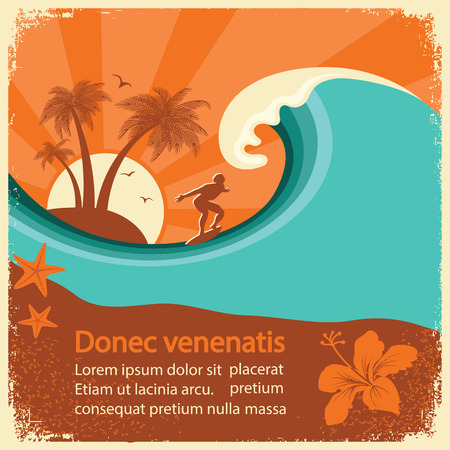 テキストの古いポスターの背景にサーファーと海の波