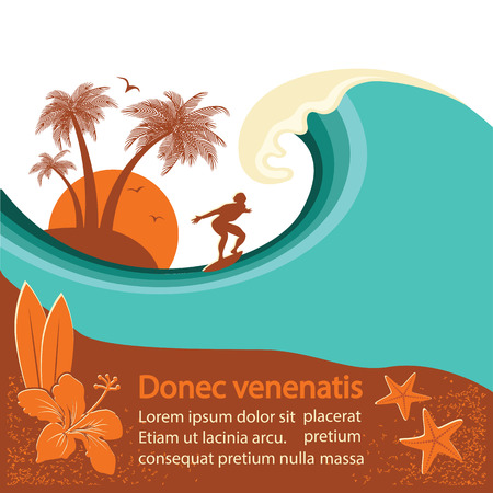 Surfer and sea wave tropical island background for text Ilustração