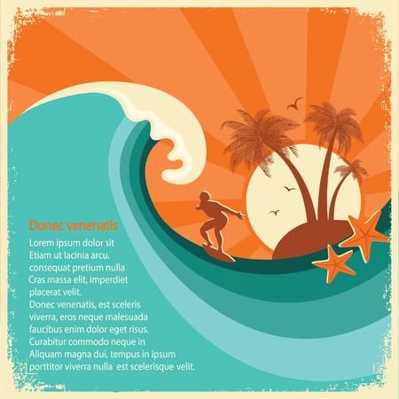 サーファーと大きな海波熱帯の島。ベクトル テキストの古いポスター背景