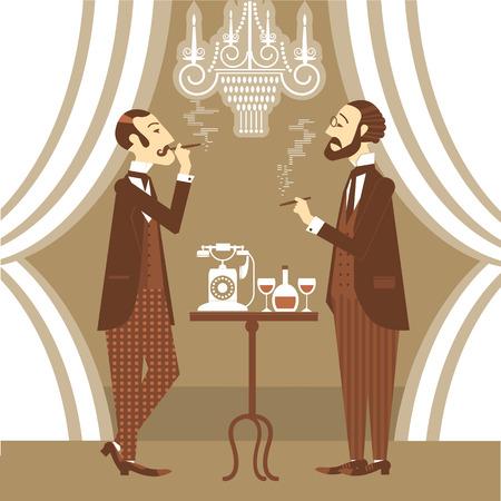 Gentlemen in club talking and smoking cigarettes.Vector vintage illustration Vector