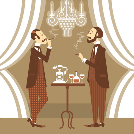 Gentlemen in club talking and smoking cigarettes.Vector vintage illustration