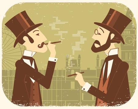 bowler hats: Gentlemen in bowler hats.Vintage illustration of two men smoking cigars on old paper texture