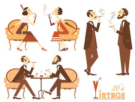 vintage cigar: Vintage people isolated on white for design.Flapper girl and elegant gentlemen vector illustration