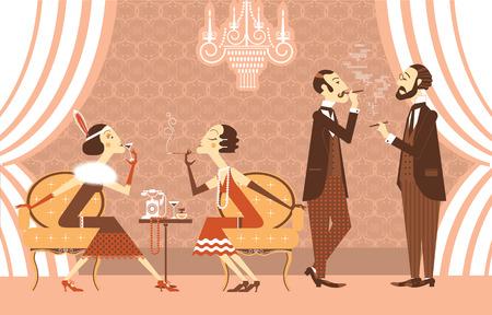 flapper: Muchachas de la aleta del vintage y genltemen hablando en la ilustración room.Vector de fiesta retro Vectores