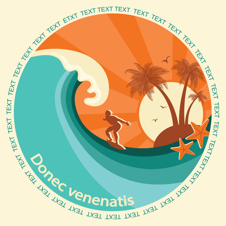 Surfing label illustration for text.Vector symbol seascape with blue wave