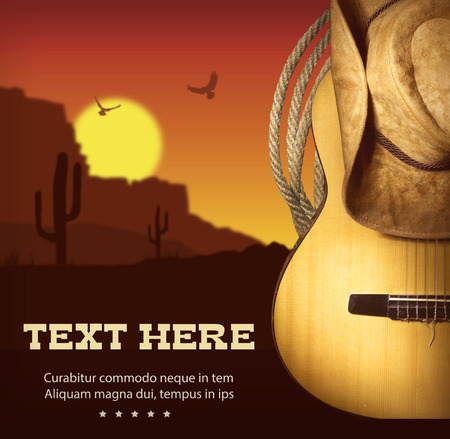 Country music poster with guitar and cowboy western hat .American landscape Foto de archivo