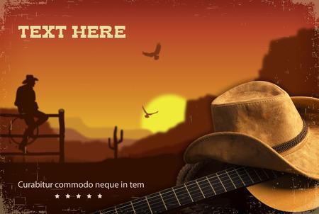 ギターとカウボーイ カントリー ミュージックのコラージュ。アメリカのランチョの風景
