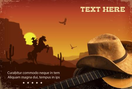 ギターとカウボーイ ハットとカントリー ミュージックのコラージュ。アメリカ西部の風景の背景