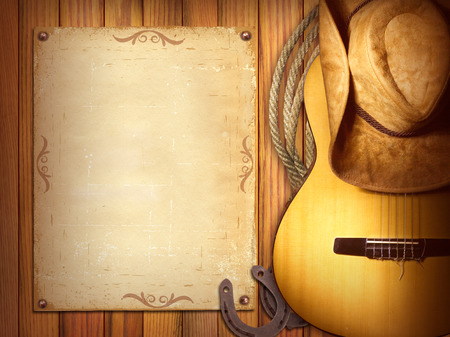 American Country music poster for text.Wood background with guitar and cowboy hat