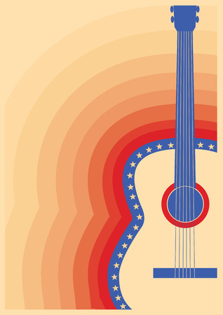 country music: Country music poster with guitar on retro paper background