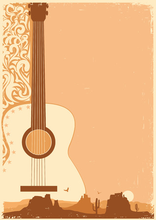 Country music poster with guitar on old paper texture for text Stock Illustratie