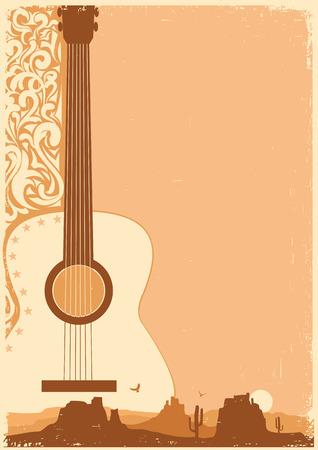 country music: Manifesto di musica country con la chitarra sulla vecchia struttura di carta per il testo Vettoriali