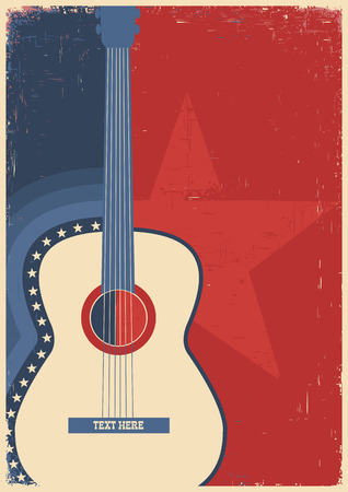 Country music poster with guitar on old paper texture Stock Illustratie