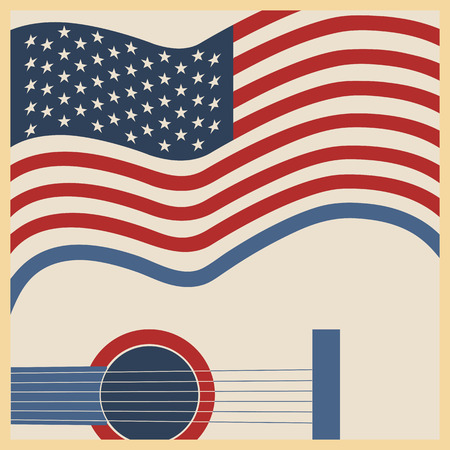 pop musician: American country music background with guitar and symbol flag.Vector poster