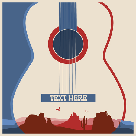 country landscape: Concert poster of music festival.Vector country music background with guitar Illustration