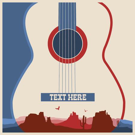 country music: Concerto manifesto della musica festival.Vector sfondo musica country con la chitarra