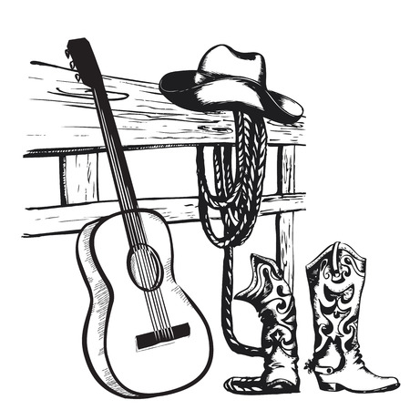 botas vaqueras: Cartel de la m�sica occidental pa�s con ropa de vaquero y el fondo de la guitarra de la m�sica para el texto Vectores
