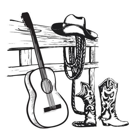 länder: Westcountrymusik Plakat mit Cowboy-Kleidung und Musik-Gitarre Hintergrund für Text