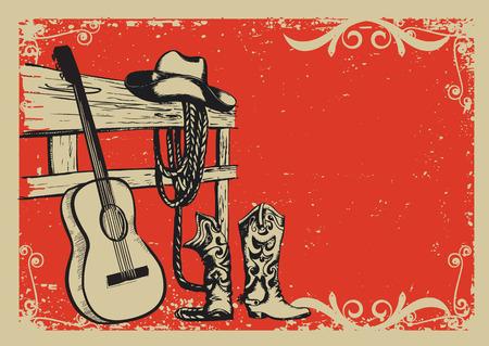 country music: Occidentale manifesto musica country con abiti da cowboy e lo sfondo di chitarra di musica per il testo