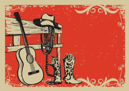 Western country music poster with cowboy clothes and music guitar background for text Stock Illustratie