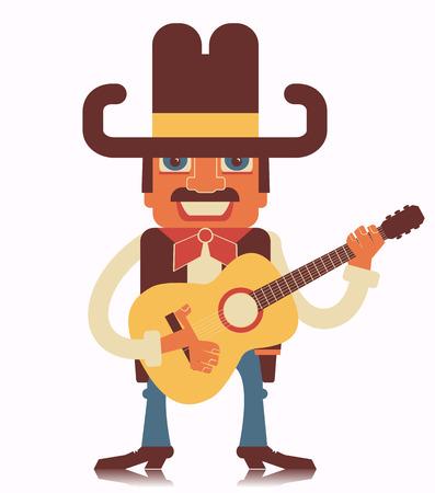country music: Cowboy suonare guitar.Vector musica country stile design piatto illustrazione isolato su bianco Vettoriali