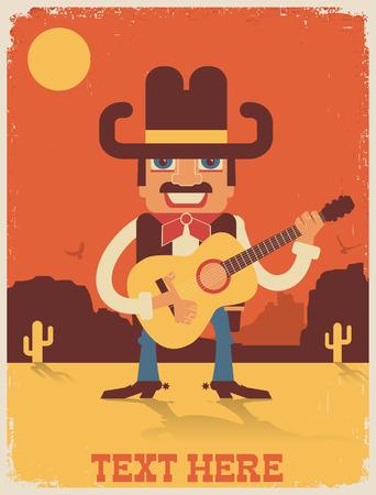 country music: Cowboy a suonare la chitarra e singing.Vector musica country manifesto illustrazione Vettoriali