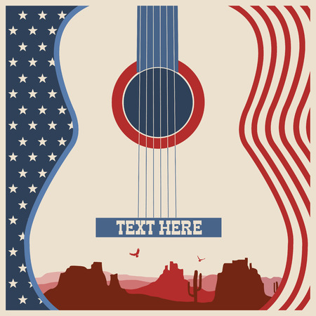 American poster of music festival.Vector country music background with guitar Illustration
