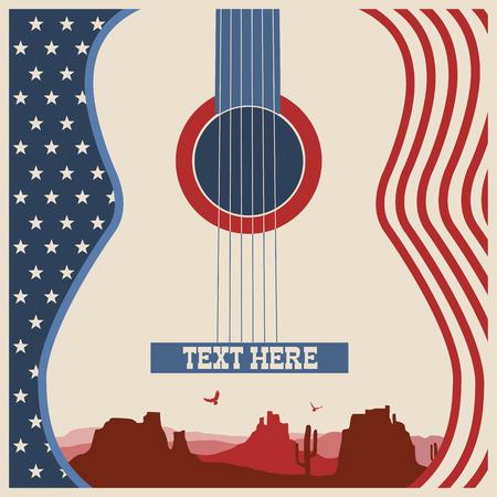 campestre: Cartel español de festival.Vector música de fondo de la música country con la guitarra