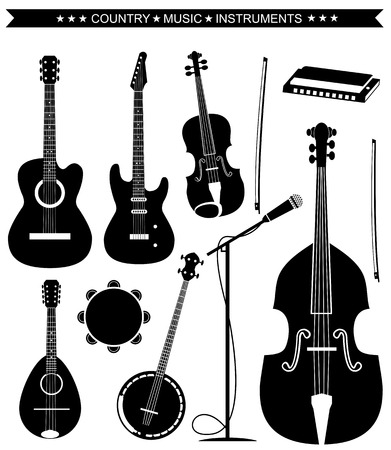 fiddle: Set of Country music instruments.Vector black silhouettes on white
