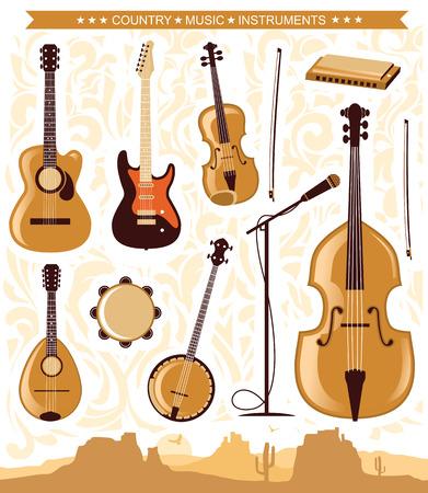 country music: Set di musica country instruments.Vector illustrazione del simbolo per la progettazione Vettoriali