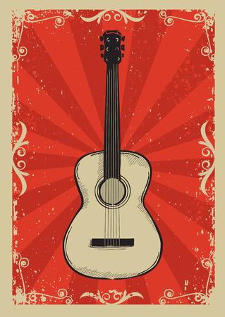 テキストの Guitar.Music の赤背景  イラスト・ベクター素材
