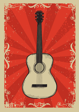 Guitar.Music red background for text Imagens - 40371969