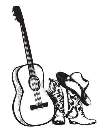 Música país occidental con los zapatos de vaquero y aislado guitar.Vector música ilustración en blanco