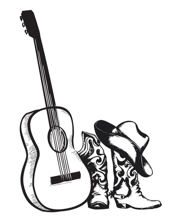 Western country music with cowboy shoes and music guitar.Vector isolated illustration on white