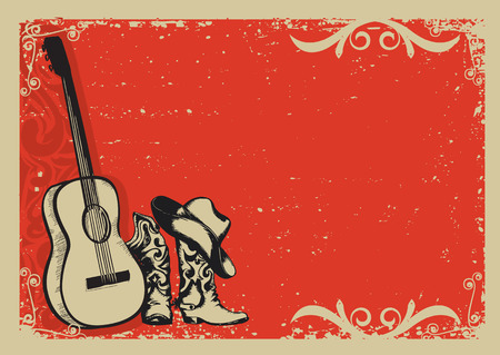 campo: Occidental del cartel de la música country con los zapatos de vaquero y de fondo la guitarra de la música para el texto