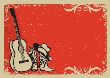 country music: Occidentale manifesto musica country con le scarpe da cowboy e chitarra sfondo di musica per il testo Vettoriali