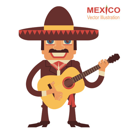 man playing guitar: Mexican man playing guitar and singing.Vector illustration on white Illustration