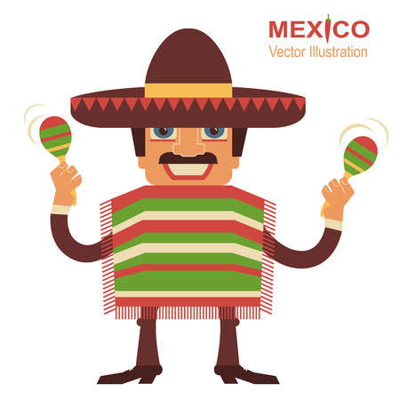 mexican: Mexican man playing maracas.Vector illustration on white