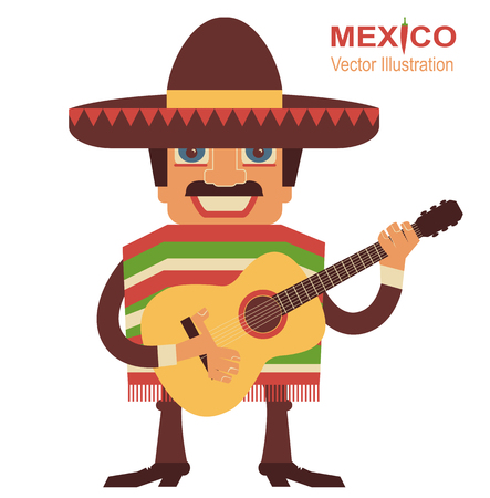 Mexican man playing guitar.Vector illustration on white Vector