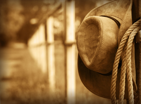 rodeo cowboy: Western background with cowboy hat and lasso Stock Photo