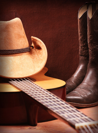 American Country music background with guitar and cowboy clothes