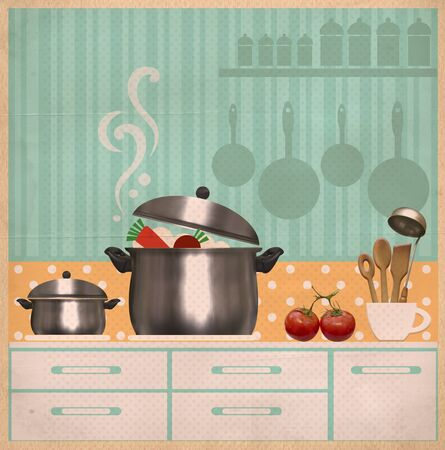 old kitchen: kitchen room.Retro style collage background on old paper for design