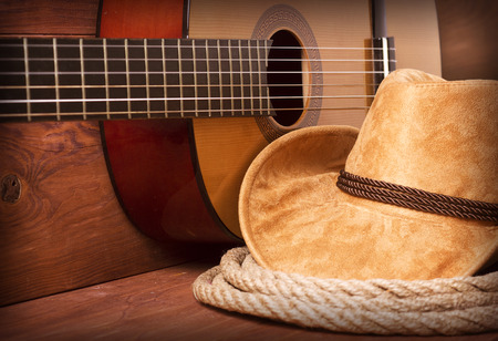 Cowboy country music image with guitar and american hat Imagens - 42411357