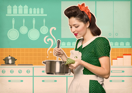 Young housewife cooks in the kitchen.Reto style poster