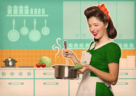 Young housewife cooking soup in her kitchen room.Retro style poster on old paper