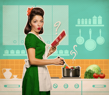 tomatos: Retro young woman cooking and reading recipe book in her kitchen room on old paper