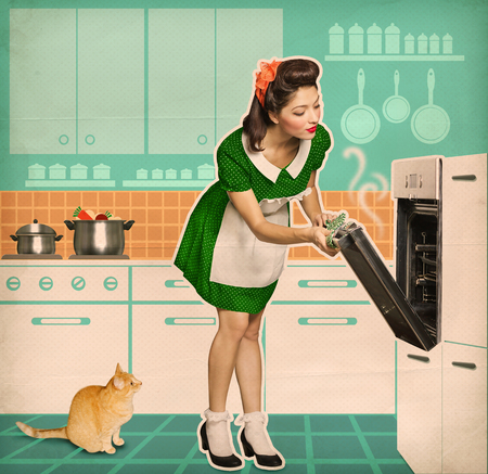 vintage kitchen: Pin up young woman cooking in an oven.Retro kitchen room on old paper